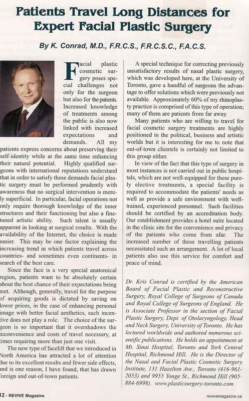 Rhinoplasty Surgeon Dr Kris Conard's Article